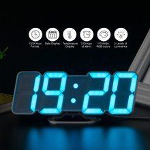 Reloj de pared LED con alarma y Control remoto, Digital, 115 colores, luz nocturna, reloj de sobremesa mágico