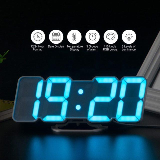 Thời Gian Kỹ Thuật Số Đồng Hồ Báo Thức Đèn LED Đồng Hồ Treo Tường Với 115 Màu Điều Khiển Từ Xa Đồng Hồ Kỹ Thuật Số Đèn Ngủ Ma Thuật Để Bàn Kiêm Đồng Hồ Để Bàn