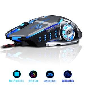 Image 2 - Ratón profesional para videojuegos, 3200DPI, ratón óptico USB con LED, con Cable, ergonómico, para ordenador portátil y PC