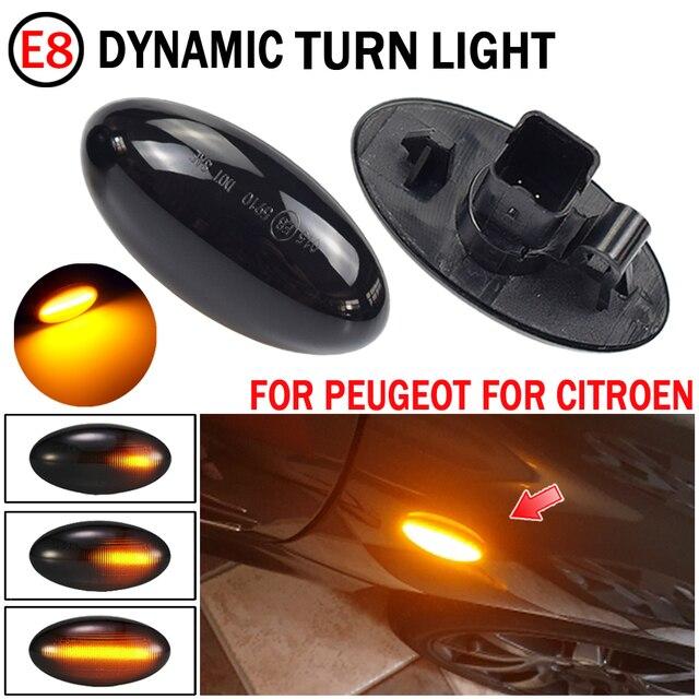 2 pces para citroen c6 2005 2012 luz de sinal de volta dinâmica led lado fender marcador indicador sequencial blinker