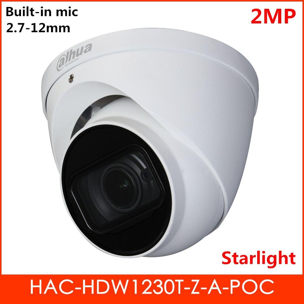 Dahua PoC Series POC HDCVI Camera HAC-HDW1230T-Z-A-POC 2MP Starlight Built-in Mic 2.7-12mm motorized lens IR 60m Security camera