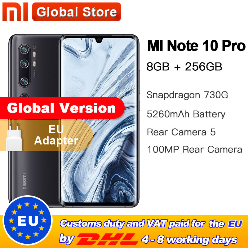 Global Version Xiaomi Mi Note 10 Pro 8GB 256GB 108MP Penta Camera Smarphone 5260mAh Battery 10x Optical Double Curved Screen