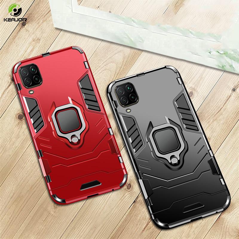 Armor Case For Huawei P40 Lite Case Metal Ring Holder Back Cover Soft Silicone Shockproof Bumper For Huawei P 40 Lite Funda Case