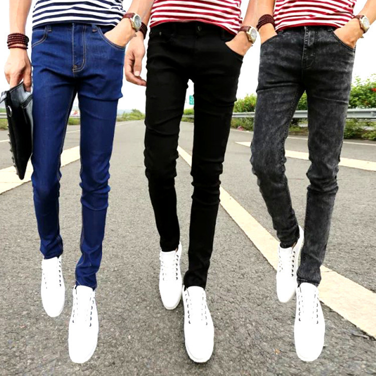 Solid Color MEN'S Jeans General Simple Skinny Korean-style Slim Fit Casual Pants Capri Jeans