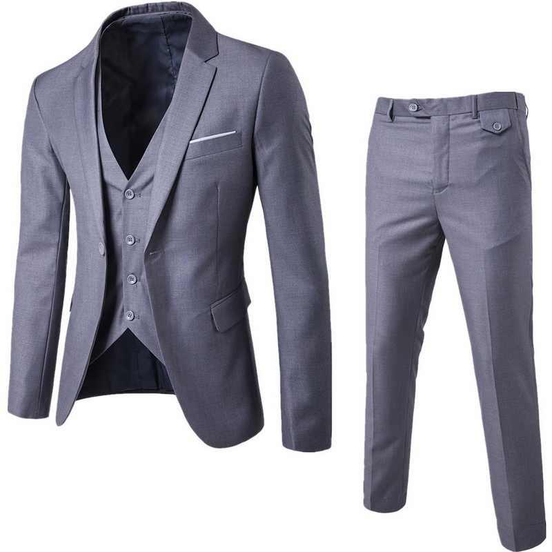 Dihope 2020 Mannen Mode Slanke Pakken Mannen Business Casual Stalknecht Driedelig Pak Blazers Jas Broek Broek vest Sets