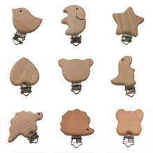 2PCS Beech Wood Baby Pacifier Clips Wooden Animal Pacifier Holder Natural Wood Dummy Clips DIY Pacifier Chain Accessory BPA FREE(China)