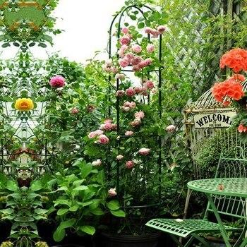 Soporte para flor del Metal verde, marco de escalada, arco, pérgola, rosa, decoración de jardín, forma cilíndrica, altura de 190CM
