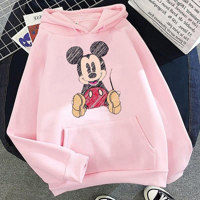 Disney 2021cartoon print sweatshirt women Funny hip hop Mickey Mouse print autumn and winter fashion Harajuku style hoodie women 16