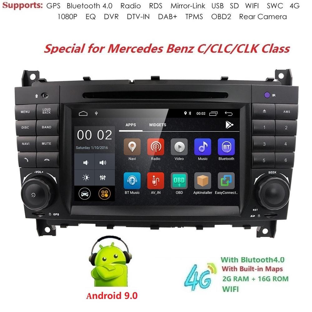 Android 9.0 2 DIN voiture DVD GPS pour Mercedes/Benz W203 W209 W219 classe A A160 classe C C180 C200 CLK200 radio stéréo