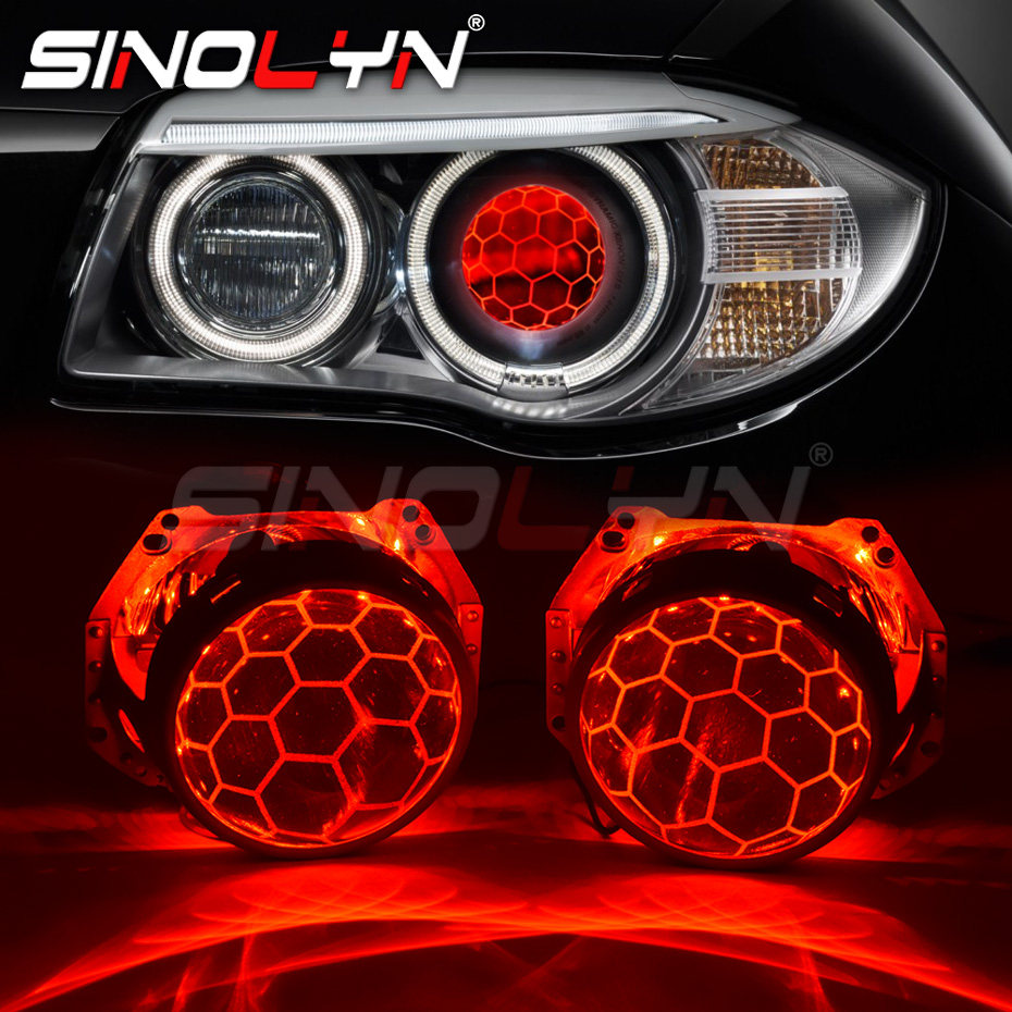2.5 Inch Blue Honeycomb Bixenon Projector Lens Mini H1 Car Headlight with Yellow Demon Eyes Fit for H4 H7 Car Motorcycle Retrofit