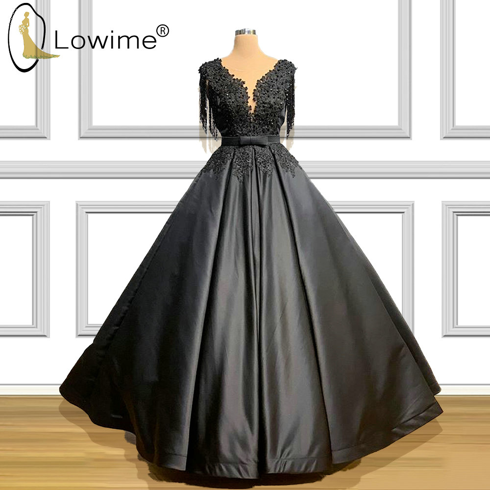 A Line Black Evening Dresses 2020 See Through O Neck Applique Beads Ruched Robe De Festa Prom Party Gowns Customize