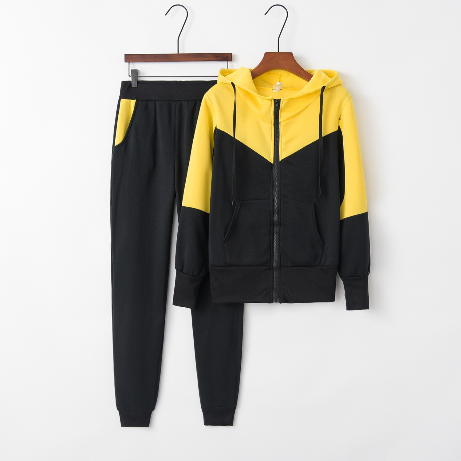 Patchwork Yellow 2020 New Design Fashion Hot Sale Suit Set Women Tracksuit Two-piece Style Outfit Sweatshirt Sport Wear