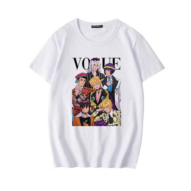 Japan Harajuku Anime JoJo Bizarre Adventure Funny T-shirts for Woman Cartoon Printed T-shirt Female Casual Cotton Tops Tee 2