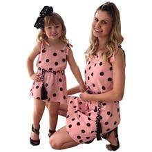 купить Matching Mother Daughter Clothes 2019 Printed Polka-Dot Straps With Dress Family Matching Clothes Party Dresses Cotton Clothes по цене 564.04 рублей