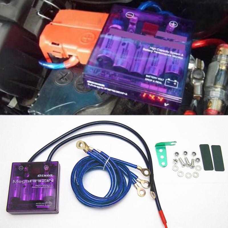 Nowy fioletowy PIVOT MEGA RAIZIN Universal Car oszczędzanie paliwa stabilizator napięcia