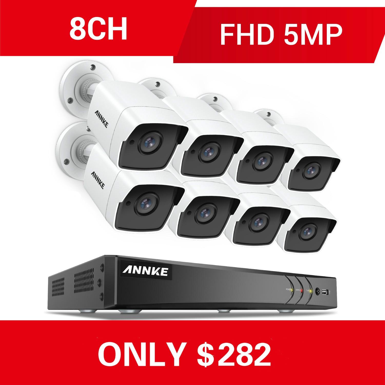 Annke 8ch 5mp ultra hd cctv sistema de câmera 5in1 h.265 + dvr com 8 pces 5mp tvi à prova de intempéries sistema de vigilância de segurança branca