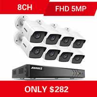 Sistema de cámara de CCTV ANNKE 8CH 5MP Ultra HD 5 en 1 H.265 + DVR con 8 Uds 5MP TVI sistema de vigilancia de seguridad blanco resistente a la intemperie