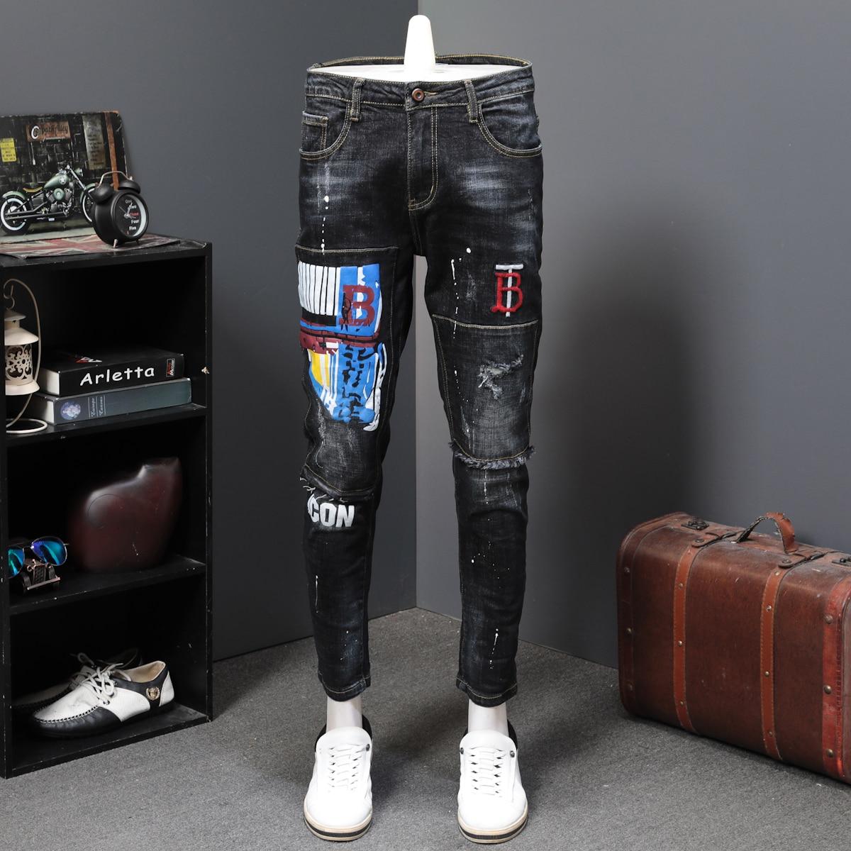 Black Spring Men Long Trousers Fashion Print Jeans Male Colored Drawing Painted Slim Denim Pants Designer Jeans Printing Jeans
