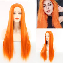 Orange Rose Pink Purple Lace Front Wigs for Women Natural Long Straight Wig Middle Parting Heat Resistant Synthetic Hair wigs(China)
