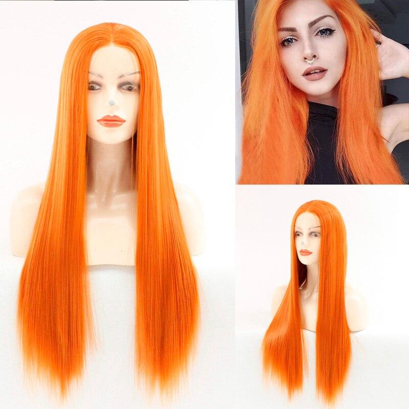 Perruques avant de dentelle pourpre Rose Orange pour les femmes perruque longue droite naturelle
