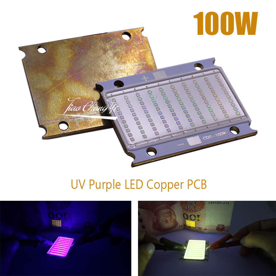 100W <font><b>UV</b></font> 420nm 395nm 380nm 365nm Purple LED Copper <font><b>PCB</b></font> 3500mA 30-36V Ultraviolet for <font><b>UV</b></font> <font><b>Lamp</b></font> Flatbed Printer,<font><b>uv</b></font> glue curing light image