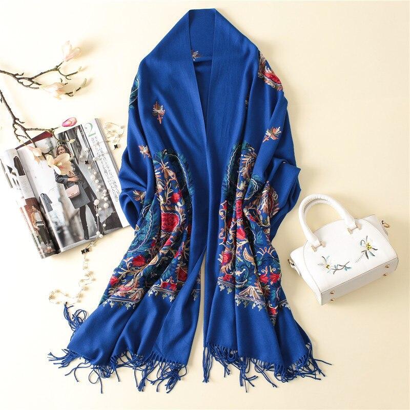 Ladies shawl elegant warm wrap yellow scarf hot embroidery winter cashmere шумоглушитель fashion flower scarf