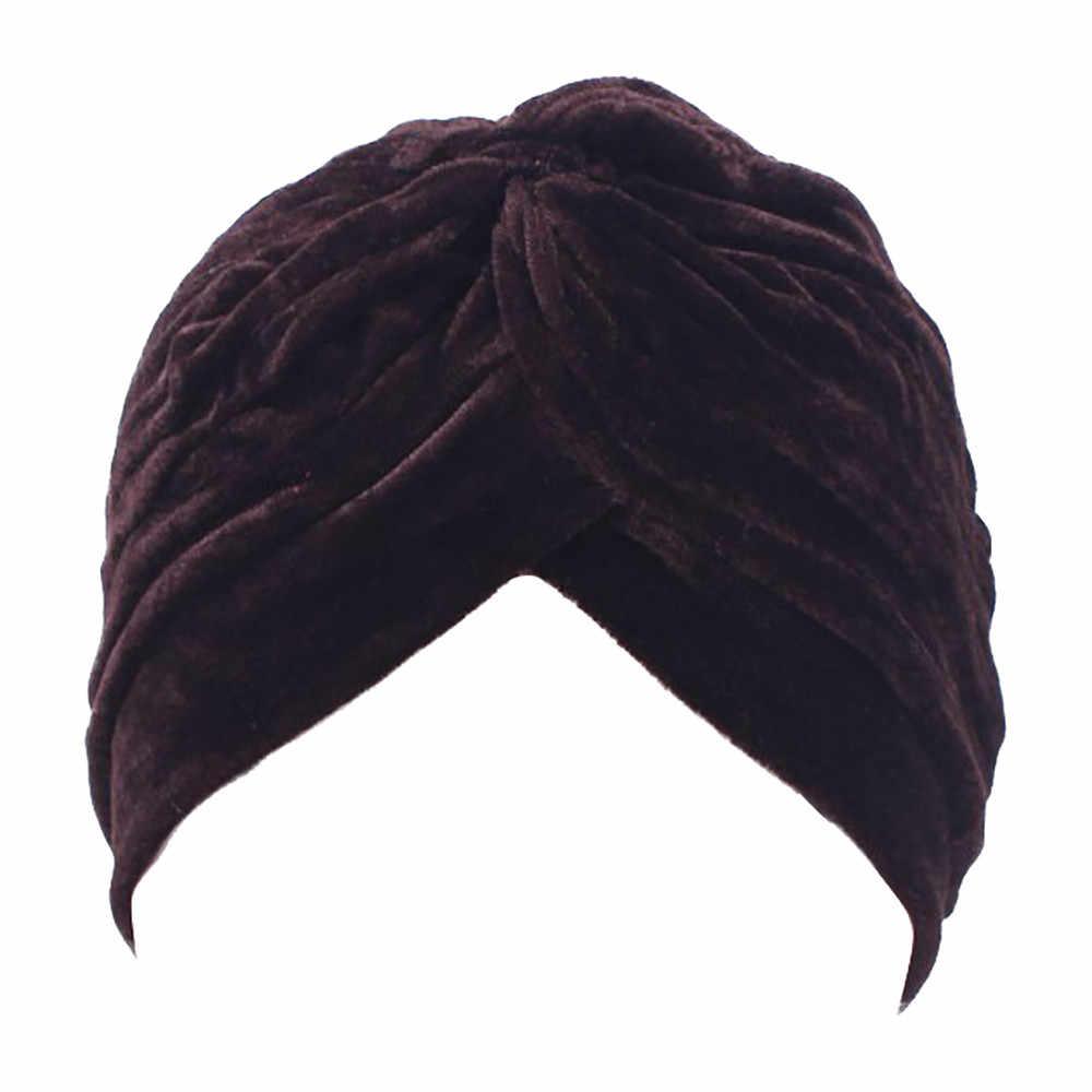 Wanita Velvet Muslim Ruffle Warna Solid Topi Beanies Syal Perempuan Sorban Tahan Angin Hangat Kepala Cap Kasual Outdoor Bonnet