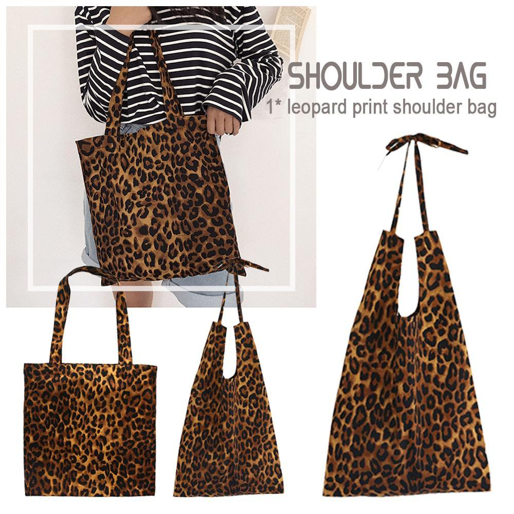2019 Women Casual Bag Leopard Print Tote Single Shoulder Bag Pure Cotton Large Capacity Handbags Travel Shopping Cluch Bag