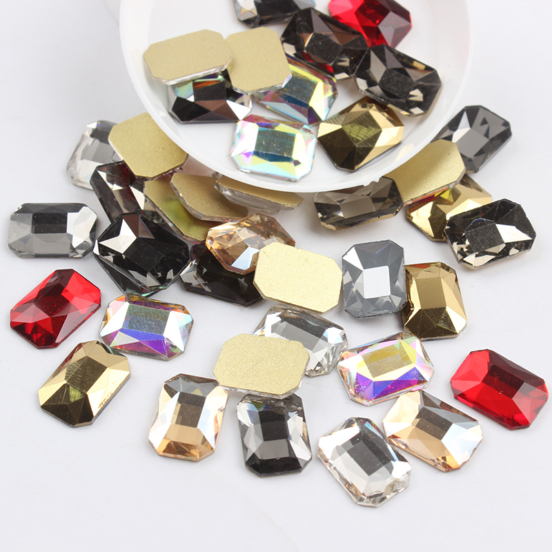 Все смешанные цвета, 30 шт, стразы для дизайна ногтей, сделай сам, без горячей фиксации, стеклянные камни для ногтей, драгоценные камни для 3D украшения для ногтей - Цвет: 10x14mm Re-octagonal
