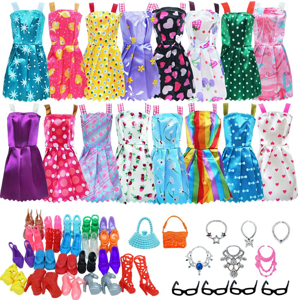 Doll Accessories For Barbie 32 pcs Girls Dress Outfit Shoes Clothes Party Pack