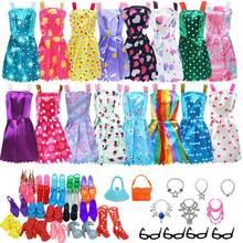 32 item/conjunto boneca acessórios = 10 mix moda bonito vestido + 4 óculos + 6 colares + 2 bolsa + 10 sapatos vestido roupas para boneca barbie