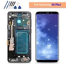 AMOLED для SAMSUNG Galaxy S9 Plus LCD кодирующий преобразователь сенсорного экрана в сборе с рамкой S9 + S9 LCD G960 G965 Замена