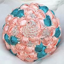WifeLai 1 ชิ้น Gorgeous เพชรนกยูงครีมผ้าไหมสีชมพูจัดงานแต่งงานเจ้าสาวประดิษฐ์ดอกไม้ช่อดอกไม้แต่งงาน 4 ขนาด w231