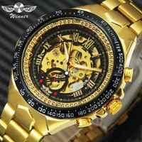 WINNER официальные винтажные Модные мужские механические часы с металлическим ремешком лучший бренд класса люкс хит продаж винтажные Ретро н...