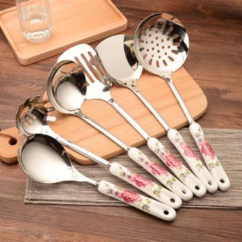 7 sztuk ceramiczne uchwyty zestaw narzędzi do gotowania zestaw przyborów kuchennych ze stali nierdzewnej z kuchenek łopaty łopaty łopatka łopatka tanie i dobre opinie Bez pokrywę garnka hf20022601 Ekologiczne Pojedyńcze Lfgb Ce ue STAINLESS STEEL