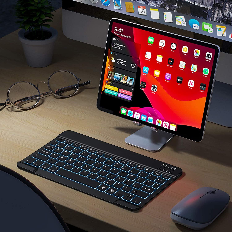 号称史上最薄剪刀脚无线蓝牙键盘拆解 键盘自带呼吸模式 七彩背光 安卓 WINDOWS 苹果IOS 系统无缝切换 兼容iPad 10.2,iPad Pro 11 / 12.9,iPad Air 10.5,iPad 9.7,iPad Mini4/5