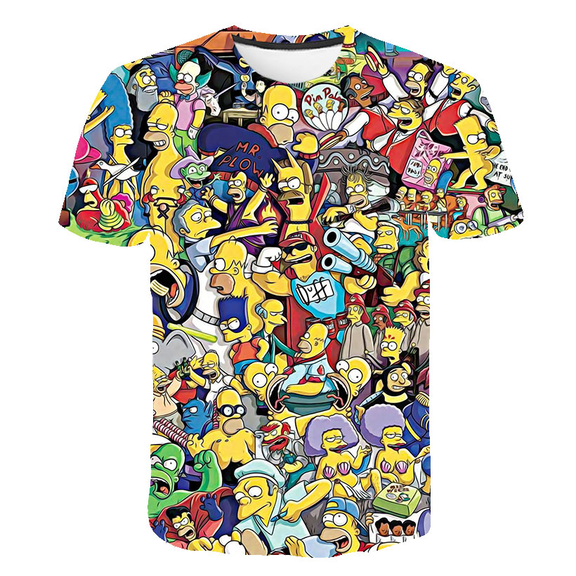 2019 New Simpson Snoopy and other animation printing men and woman T-shirts with round collar and short sleeves in summer(China)