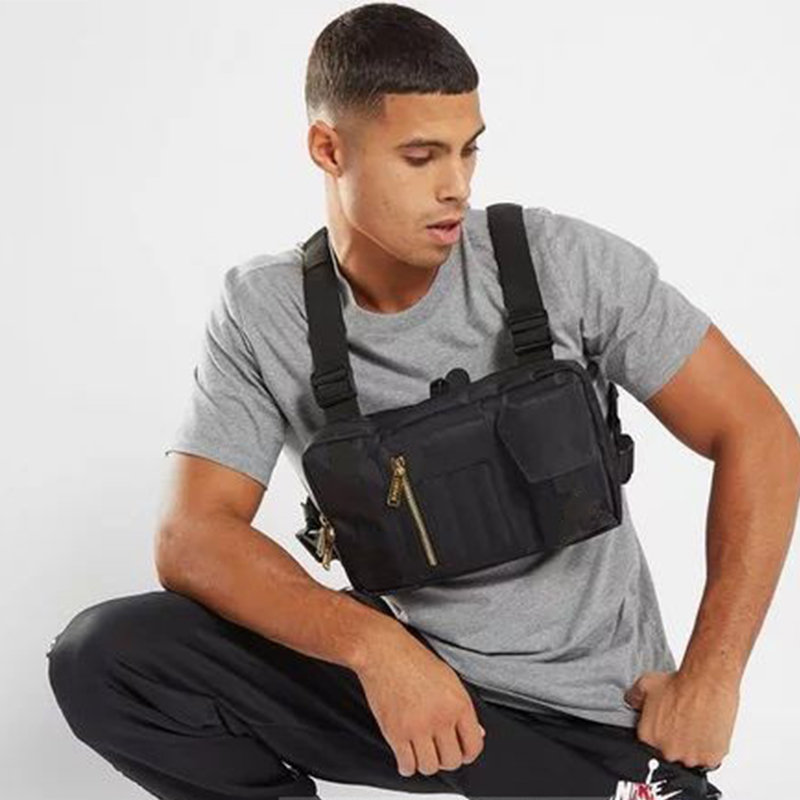 Multifunction Nylon Chest Bag For Men Streetwear Black Vest Bag Chest Utility Bags Women Three Pockets Large Space Chest Rig 202