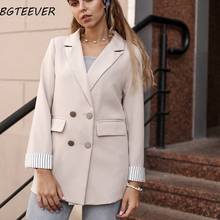 Casual Double Breasted Women Jackets Notched Collar Women Blazer Jacket Autumn W