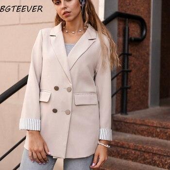 Casual Zweireiher Frauen Jacken Kerb Kragen Frühling Frauen Blazer Jacke Herbst Weiblichen Oberbekleidung Elegante Damen Mantel 2020