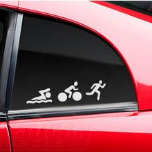 цены HobbyLane Triathlon Sticker Car Reflective Decals Swim Bike Run Sports Car Body Decoration Styling