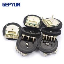 10pcs Dupla Engrenagem sintonia potenciômetro B102 B103 B203 B503 B1K B10K B20K B50K 3Pin/5Pin Gepyun 16*2 milímetros Potenciômetro de Marcação