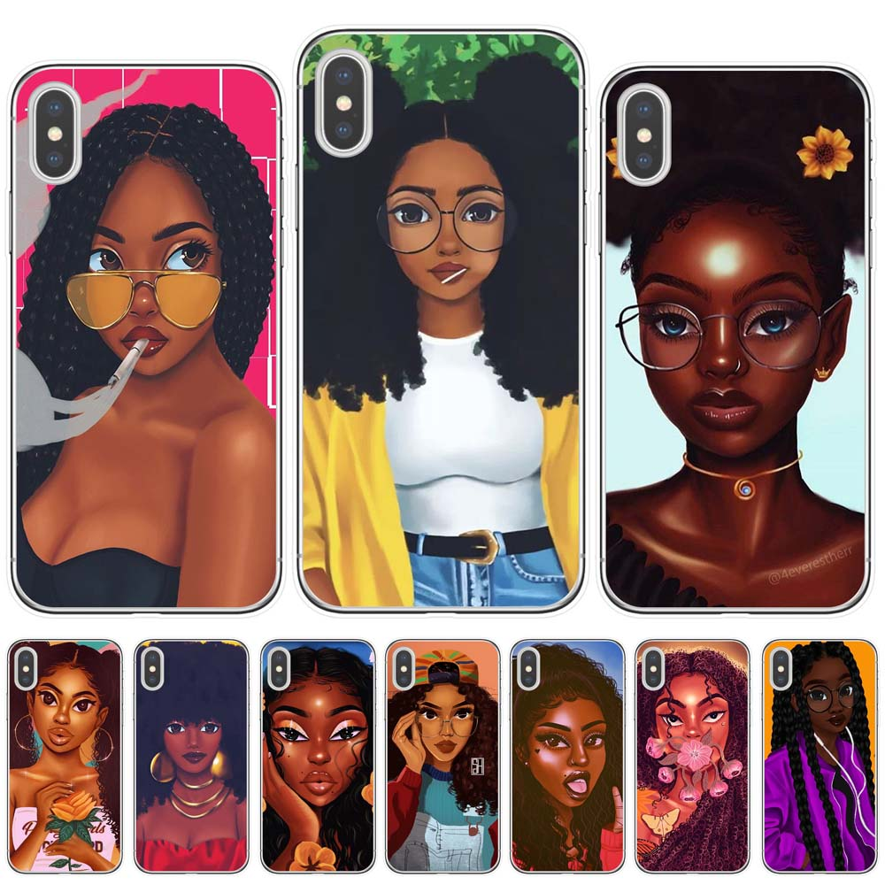Melanin Poppin Dark Black Girl Drawings Curly Hair African American Girl Case For Iphone 11 Pro Max 7 6 6s 8 Plus X Xr Xs Max 5s Aliexpress