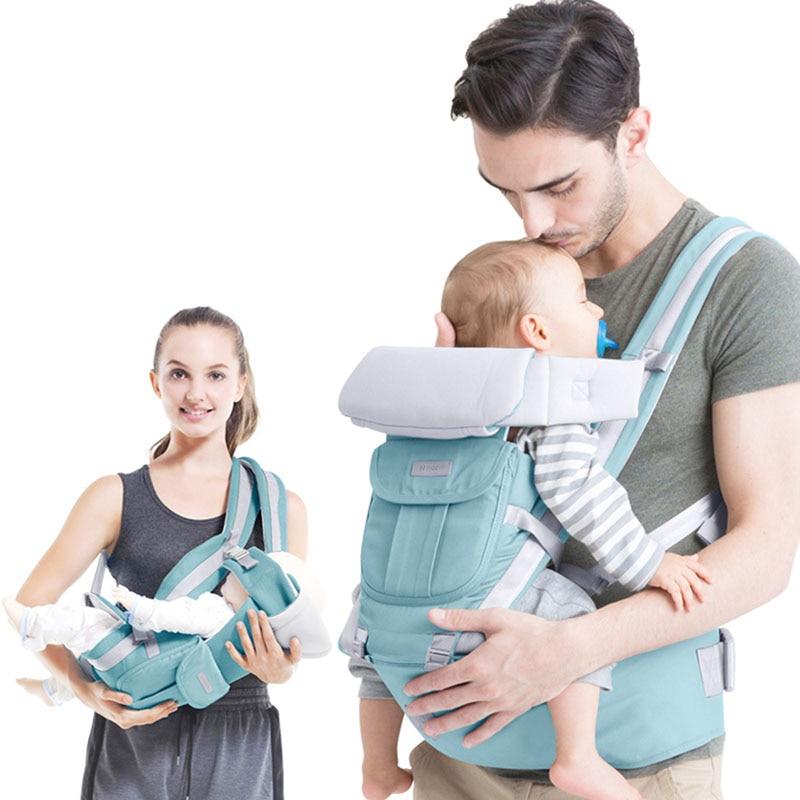 Multifunctional Ergonomic Baby Carrier Hipseat Newborn Kangaroo Carrier 0 - 36 Months Cotton Wrap Infant Sling Backpack