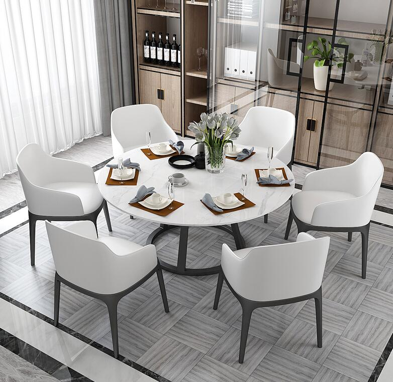 Marble Table Nordic Modern Simple Dining Table Combination Table Family Table Light Luxury Iron Art Restaurant Tables And Chairs