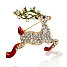 European and American Christmas fashion accessories running elk crystal dripping brooch suit collar needle gift
