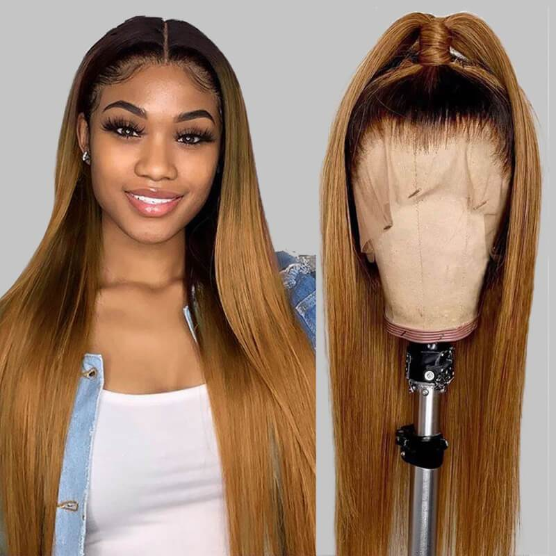 Ombre Blond Black Root Full Lace <font><b>Human</b></font> <font><b>Hair</b></font> <font><b>Wigs</b></font> Fake Scalp Virgin Straight <font><b>250</b></font>% <font><b>Density</b></font> <font><b>Human</b></font> <font><b>Hair</b></font> Pre-Plucked Hairline <font><b>Wig</b></font> image