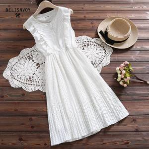 Image 3 - Mori Girl Summer Women Sundress Red White Polka Dot Sleeveless Ruffles Dress Vintage Elegant Chiffon Sweet Lady Pleated Dresses