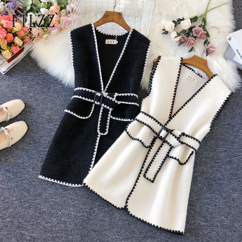 Faux Woolen Vest Women Spring Autumn Korean Slim Medium Long With Belt  Sleeveless Waistcoat New Fashion Ladies Vests Mujer