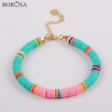BOROSA 10PCS Rainbow Handmade Bracelets Polymer Clay Beads Fimo Slices Plastic Thin Disc Elastic String Bracelet Jewelry HD0090